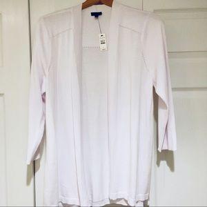 Talbots White 3/4 Sleeve Cardigan Sweater, NWT